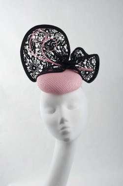 fascinator hat with elegant pillbox shape & lace trim - The Hat Box