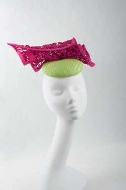 lime pillbox hat with fuchsia lace trim - The Hat Box