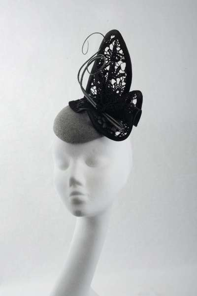 fascinator hat featuring pillbox shape with lace trim - The Hat Box