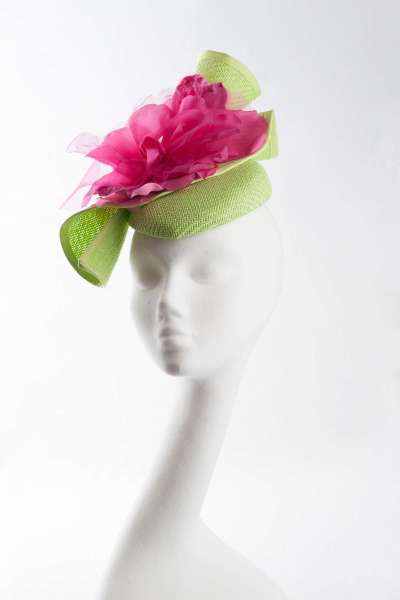 pillbox cocktail hat in lime and cerise pink