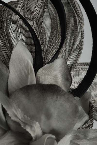Silver fascinator with large flower - The Hat Box