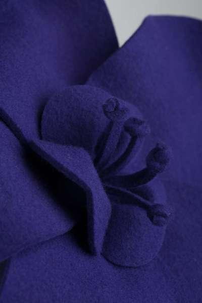 purple felt fascinator with large flower shape - The Hat Box
