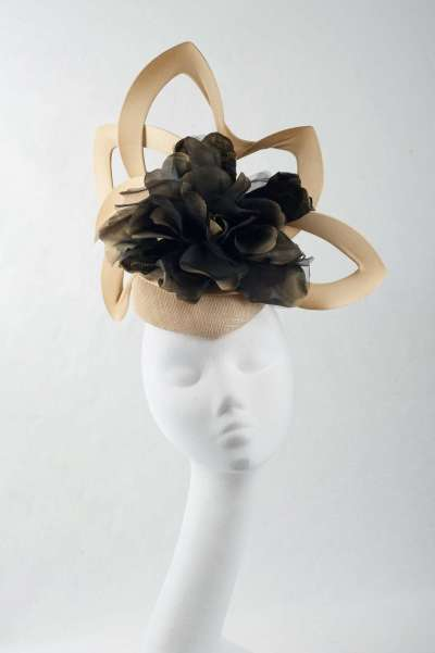 gold and black headpiece with large flower - The Hat Box