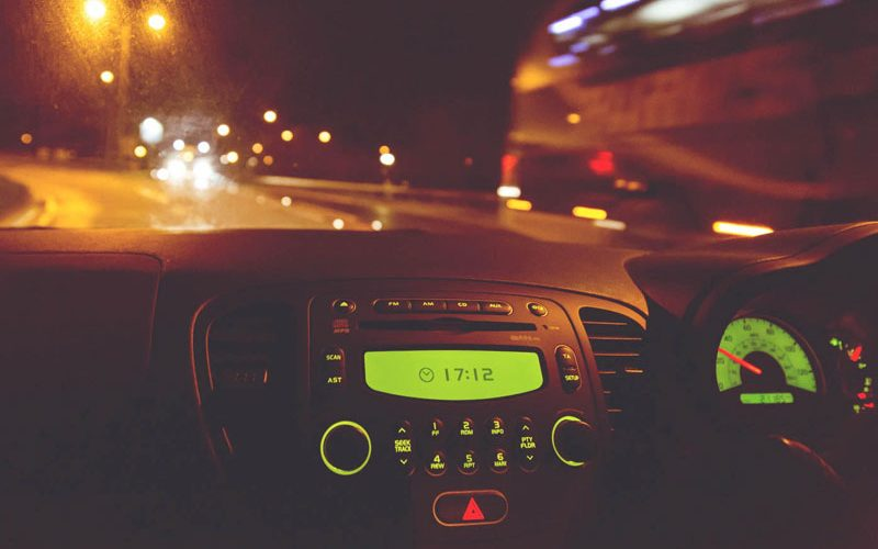Car dashboard at night