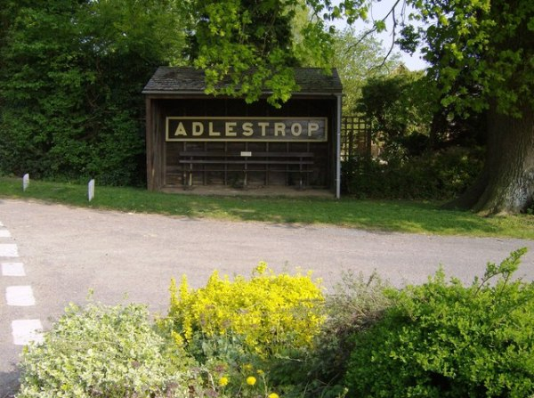 Original Adlestrop station sign, now in a bus stop. Credit Graham Horn via Wikimedia