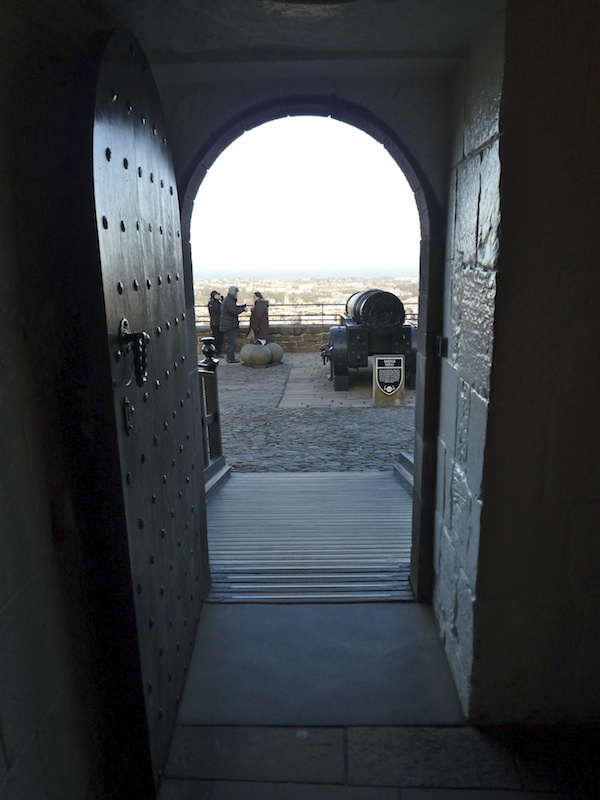 Looking out onto the ramparts with Mons Meg, the great cannon of James II