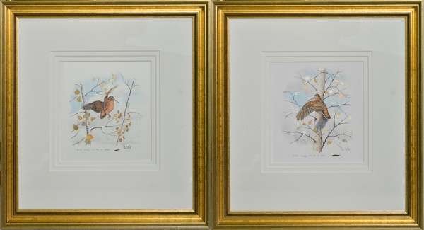 Woodcock pin-feather pair in gold leaf by Colin Woolf