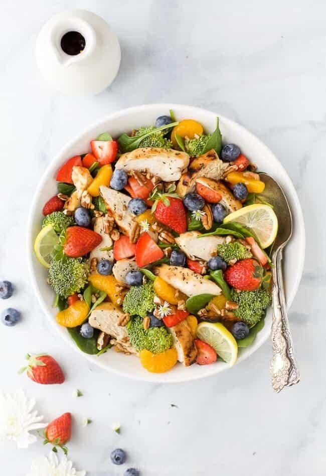 Detox Strawberry Chicken Salad With Honey Mustard Dressing Joyful Healthy Eats