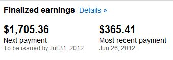 My earnings from Youtube ads in June and July.