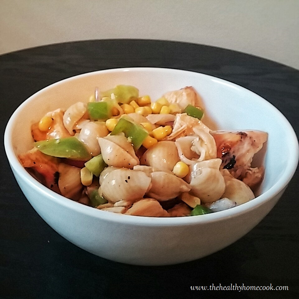 Must try this simple veggie chicken pasta with a sweet, tangy, spicy barbecue vinaigrette.