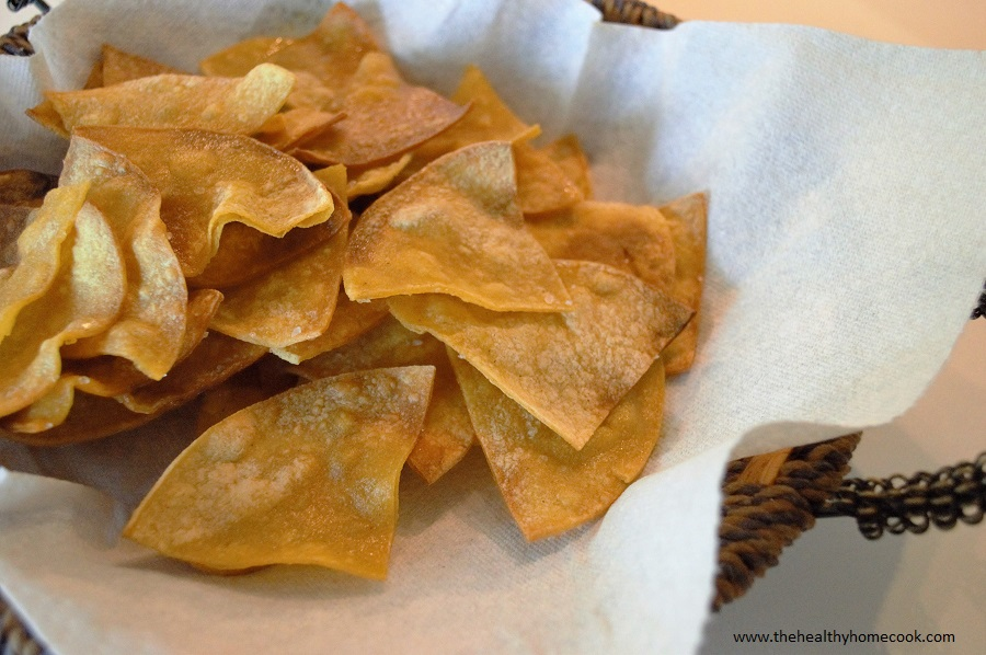 "Put a little crunch in your next Mexican themed dinner with these Homemade ""Hint of Lime"" Baked Tortilla Chips."