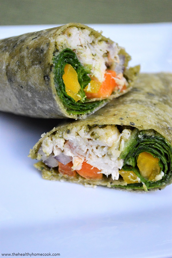 This fresh and fit Grilled Chicken Pesto Wrap is a tasty way to enjoy your lunch break today!