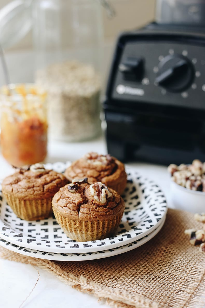 These pumpkin spice mixer muffins are a healthy take on muffins.  They're easy to make, gluten-free, and only require one tool, your blender!  No other dishes required.
