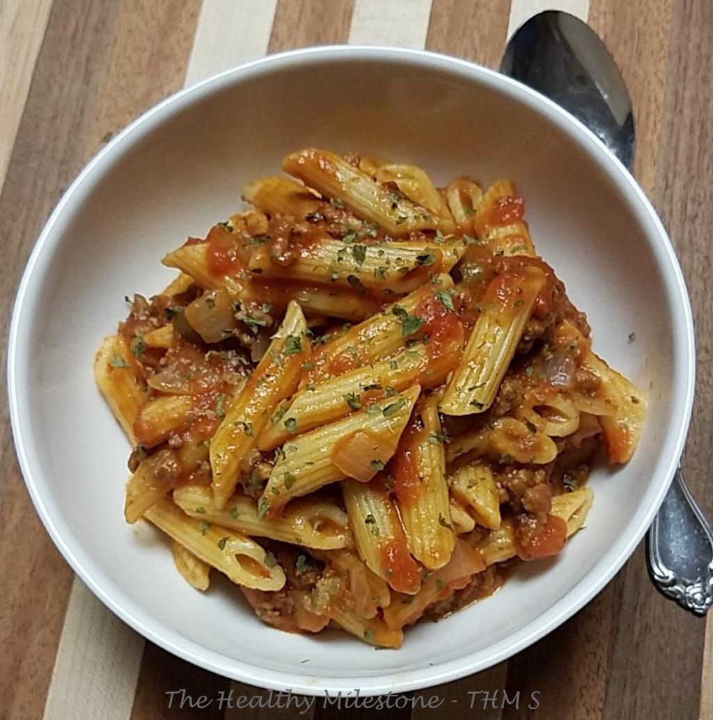 beefy tomato penne pasta