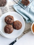 Plate of healthy vegan chocolate banana muffins
