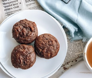 Plate of healthy vegan chocolate banana muffins