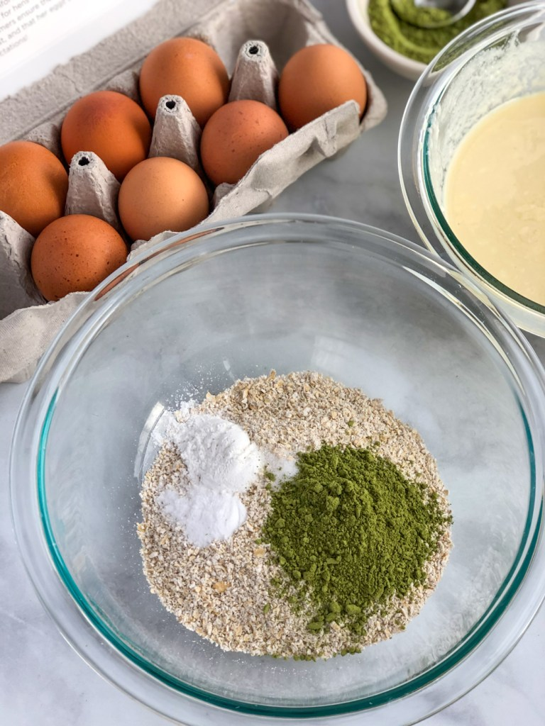 dry ingredients for healthy matcha pancakes in mixing bowl