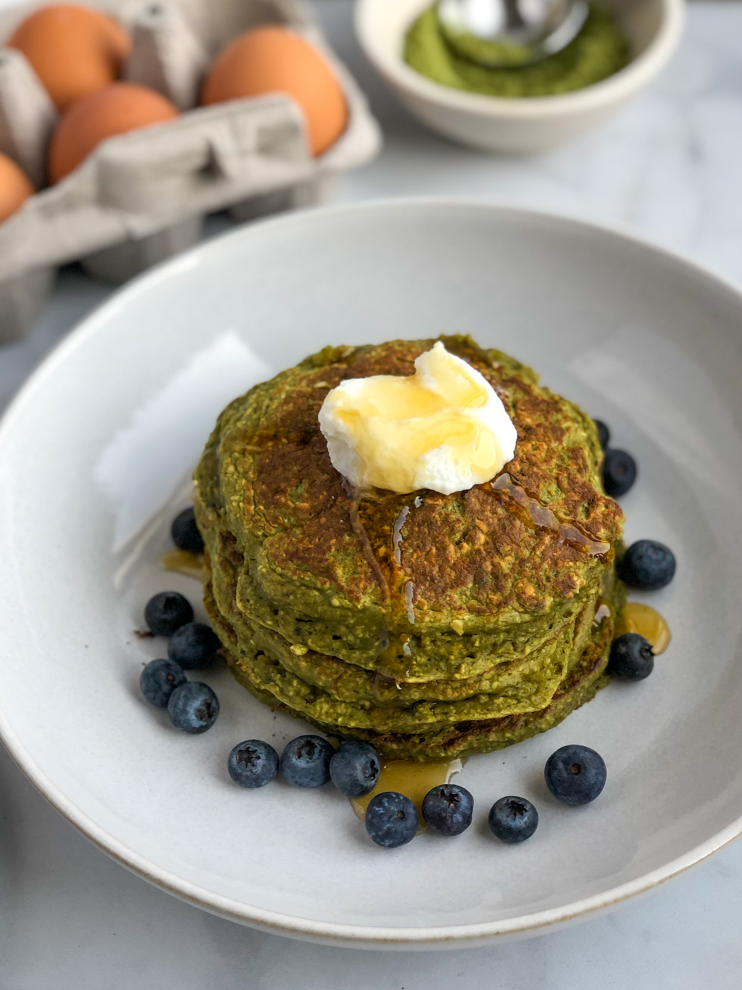 Healthy Whole Grain Matcha Pancakes