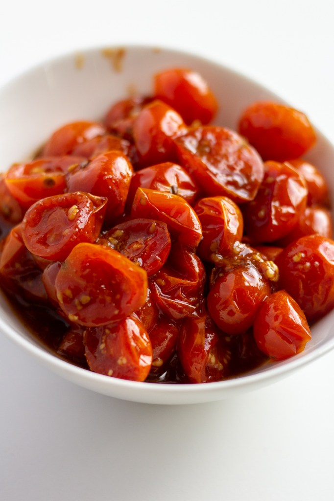 Bowl of roasted balsamic tomatoes