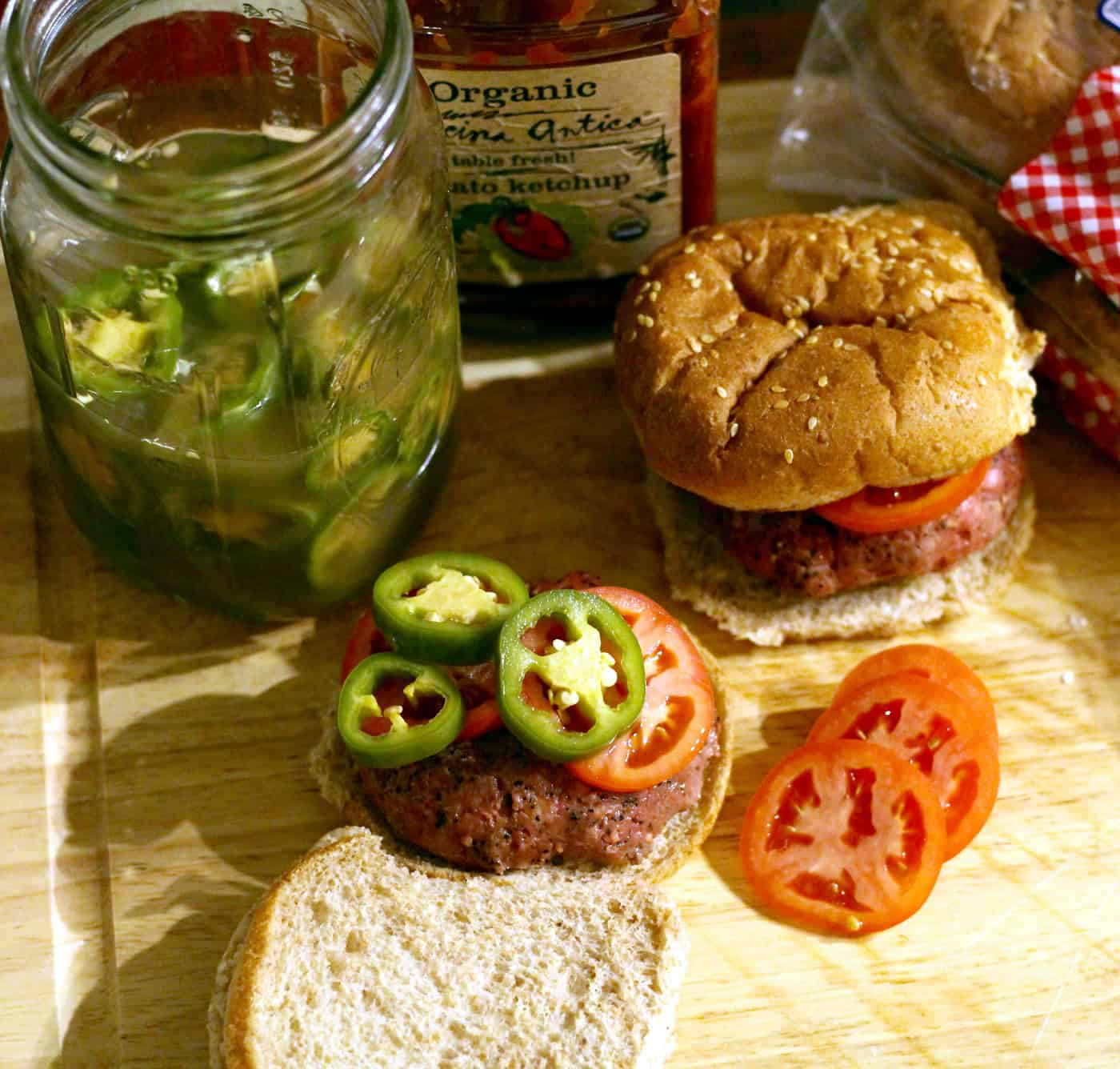 Sous Vide Bison Burgers with Pickled Jalapeños