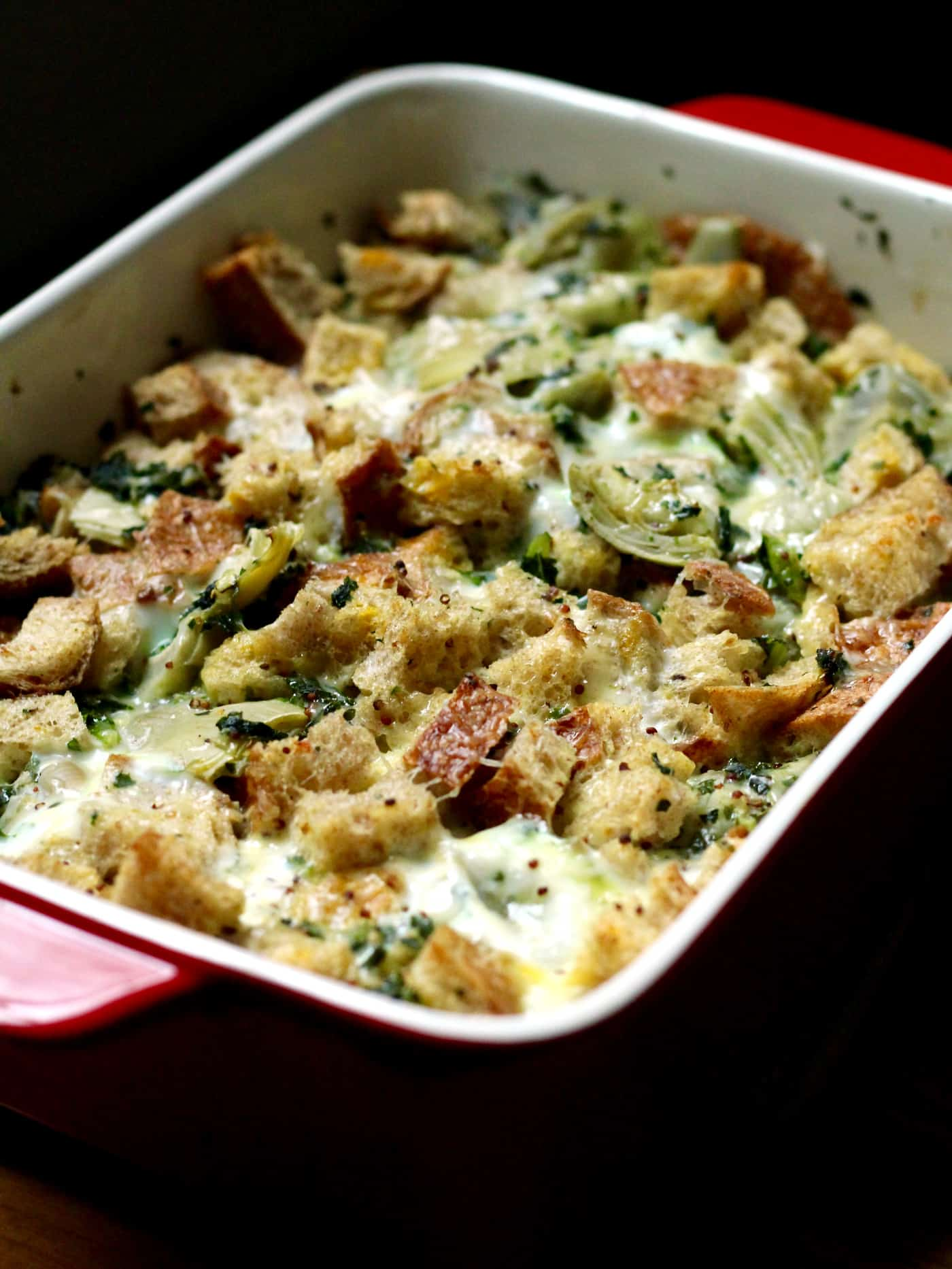 Cheesy Kale and Artichoke Strata