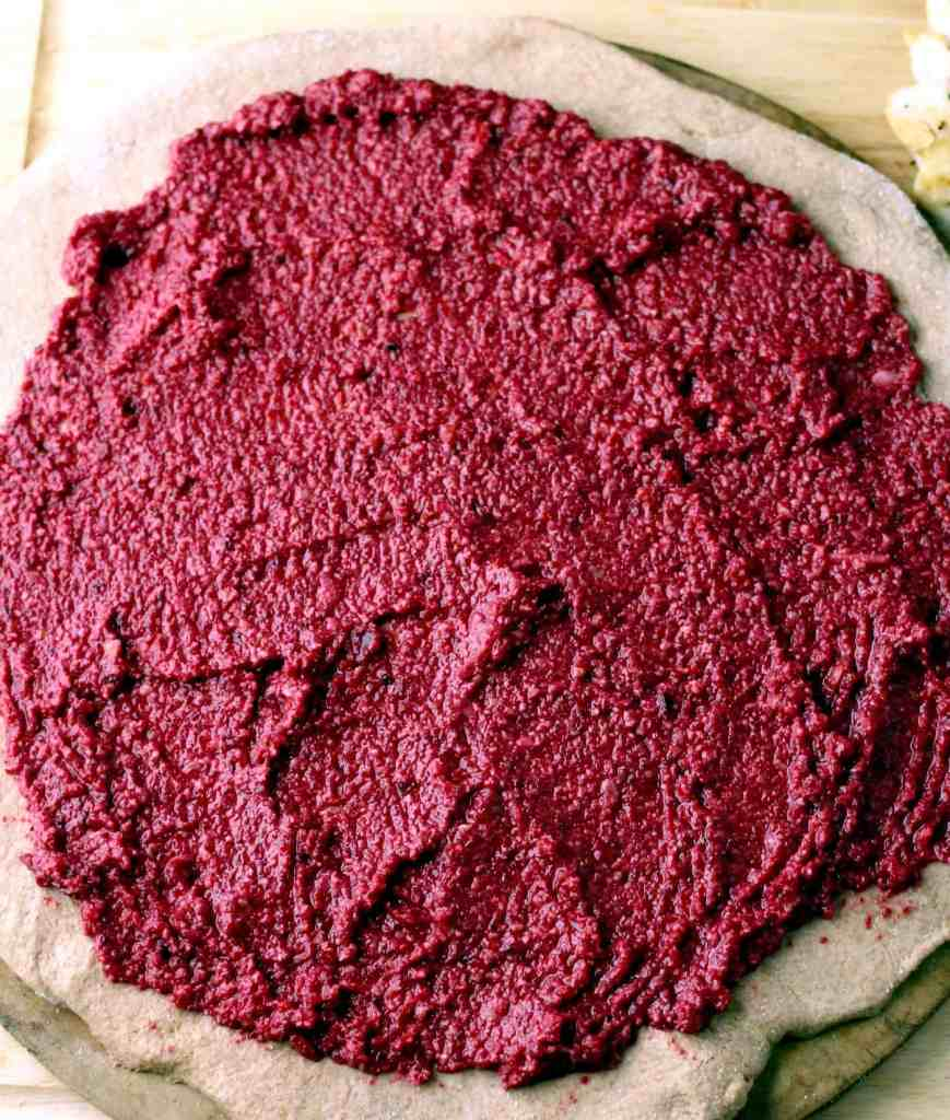 Adding beet sauce to crust