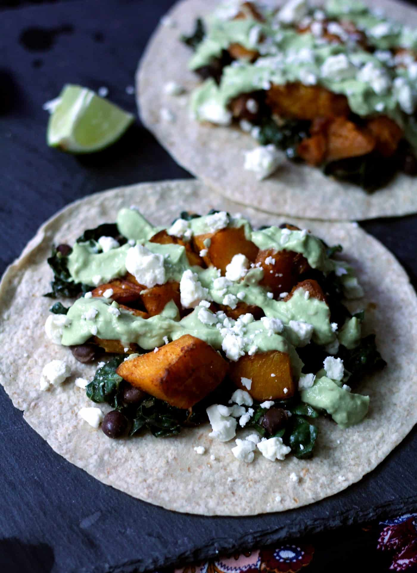 Healthy Roasted Butternut Squash Tacos with Avocado Crema