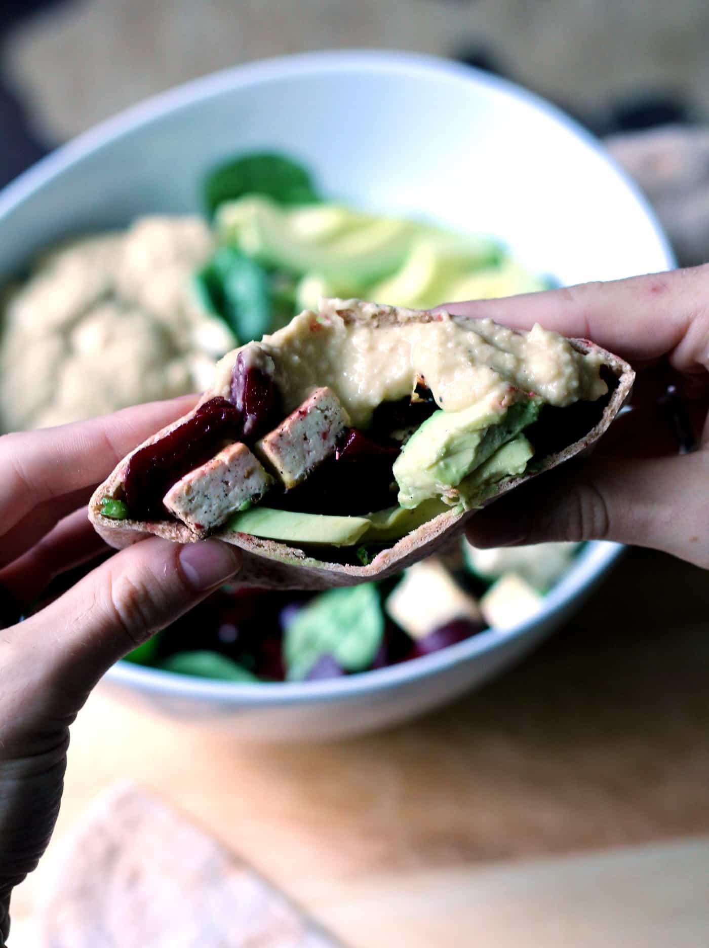 Lemon Hummus Stuffed Salad
