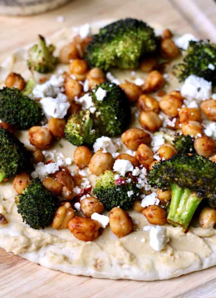 Roasted chickpea and broccoli hummus pita flatbread