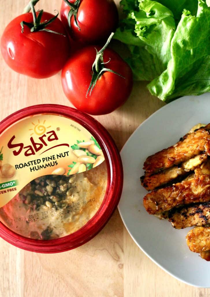 Container of Sabra roasted pine nut hummus