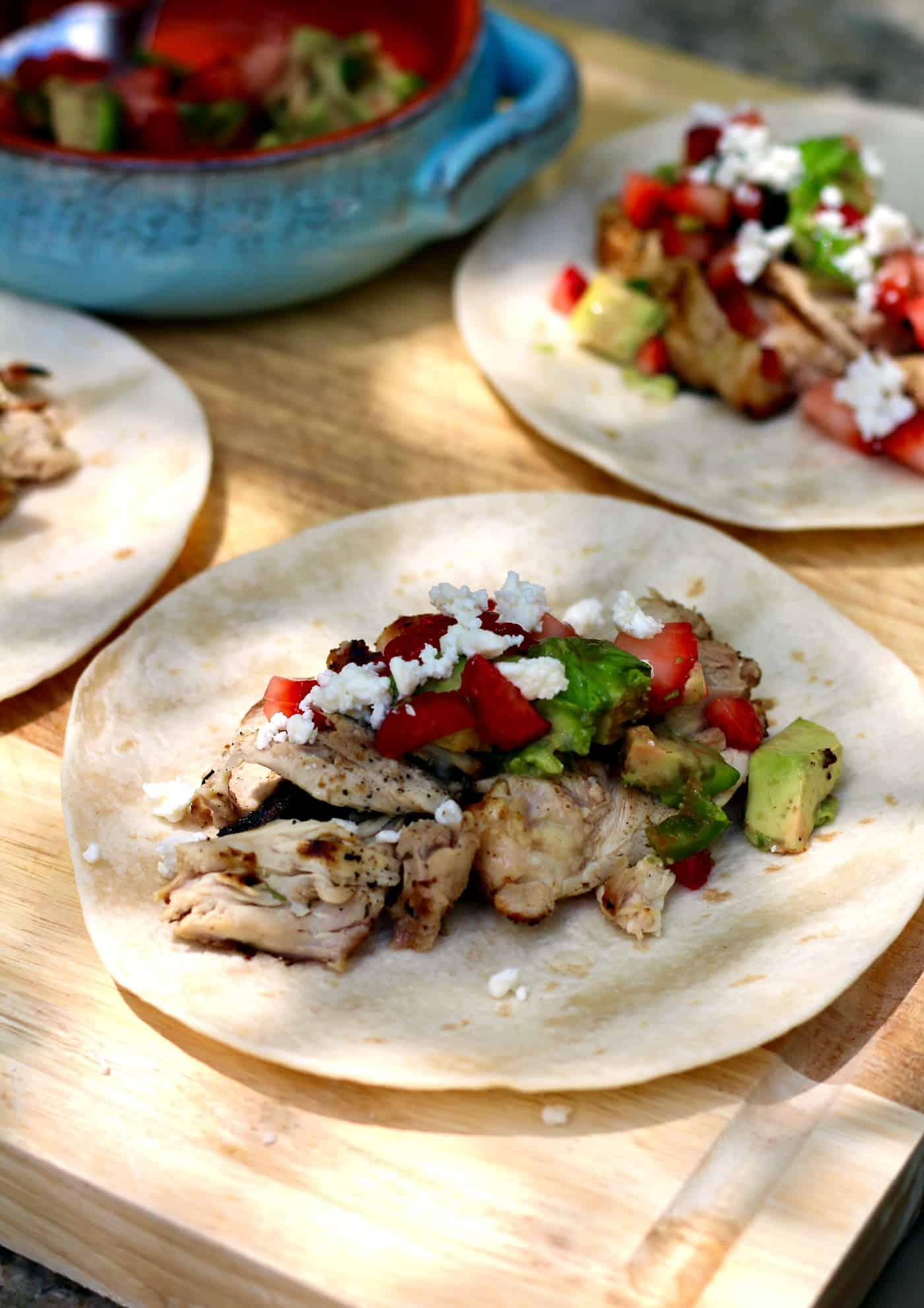Grilled Chicken Tacos with Strawberry Avocado Salsa