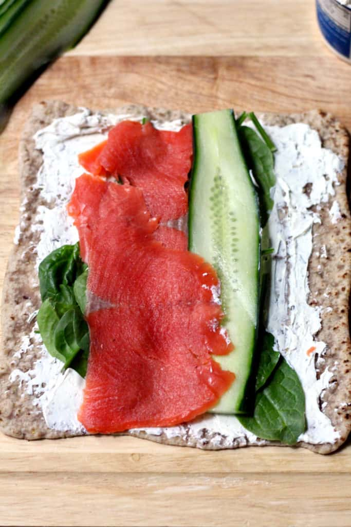 Assembling smoked Salmon lavash wrap