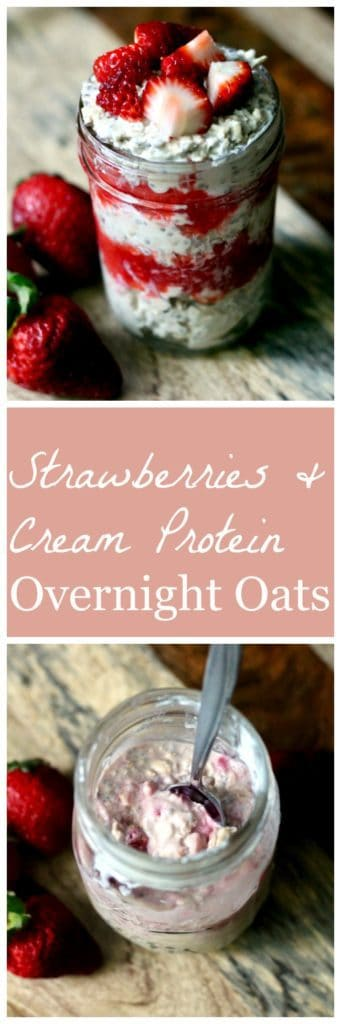 Strawberries and cream protein overnight oats pinterest image