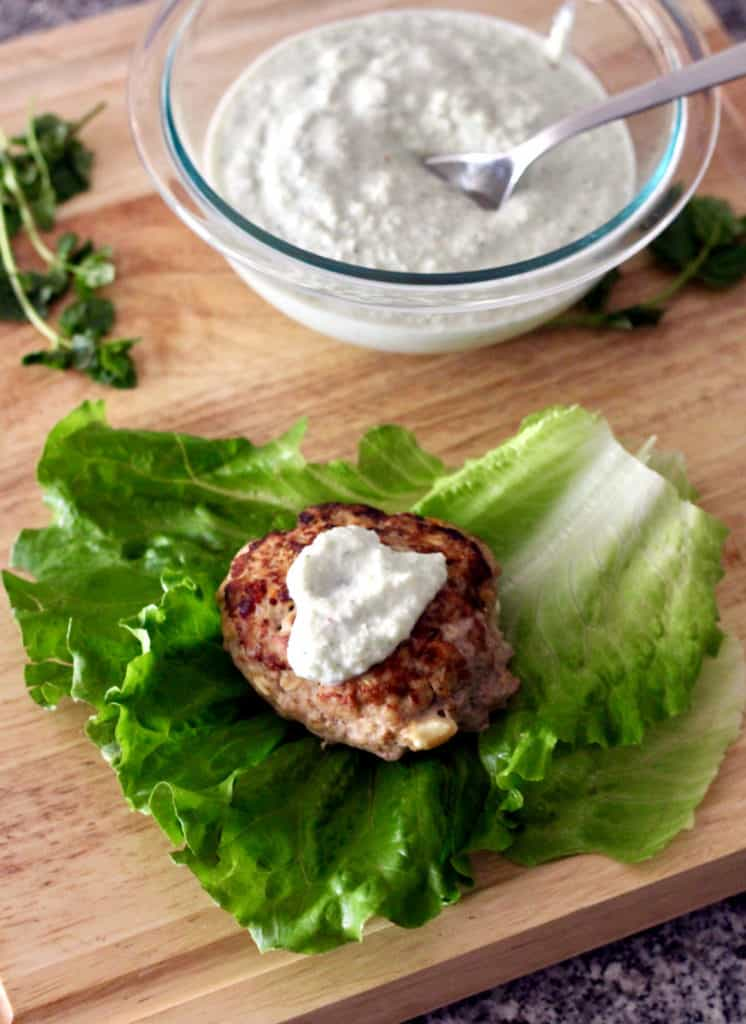 Greek turkey burger on lettuce