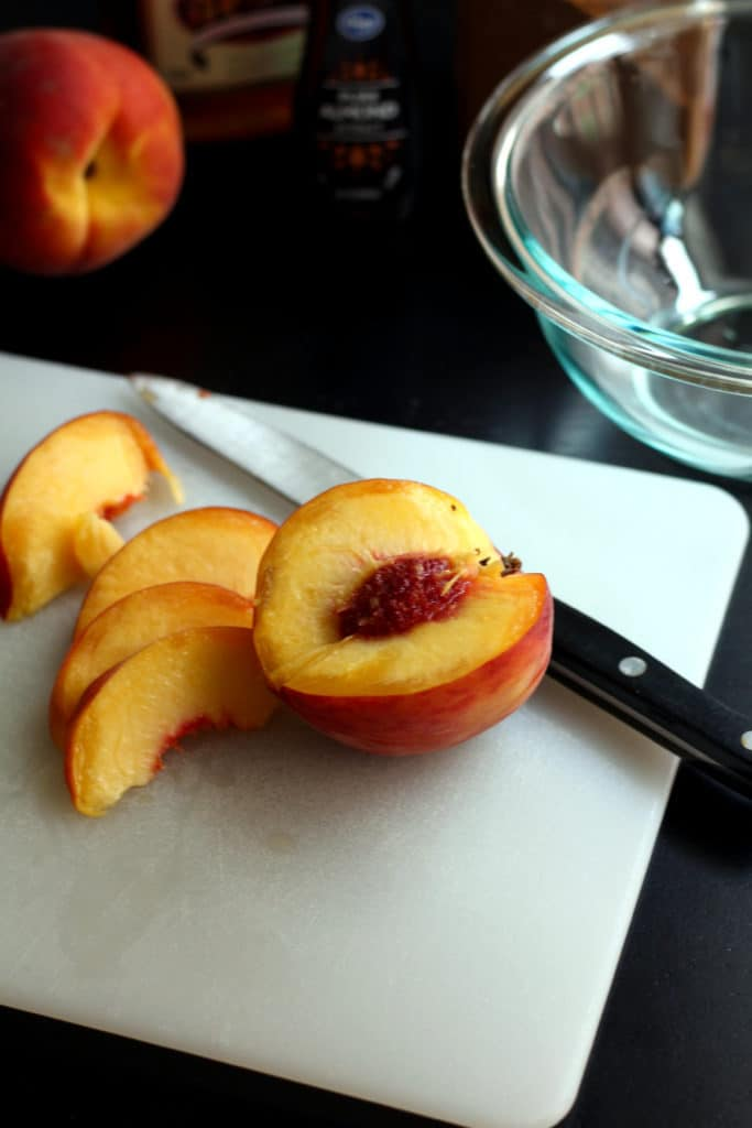 Slicing fresh Colorado peach
