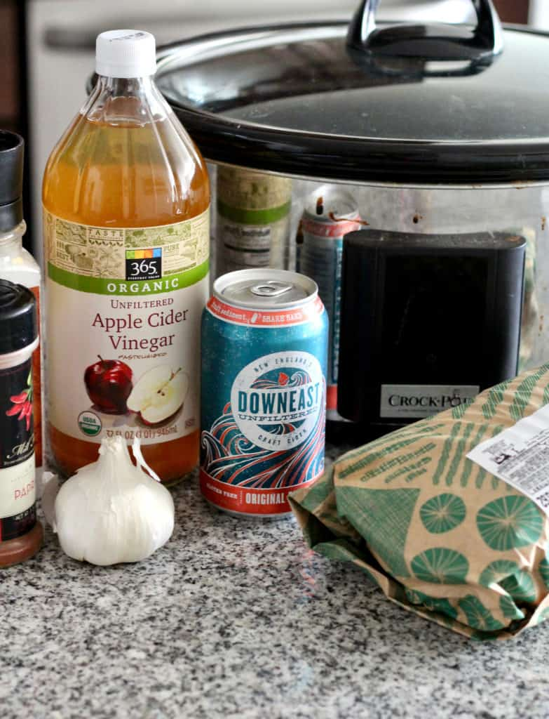 Apple cider vinegar, Downeast Cider, garlic, pork and cock pot