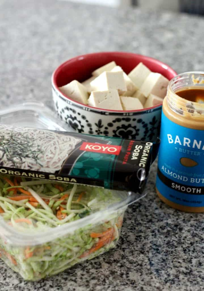 Soba noodles, broccoli slaw, cubed tofu and almond butter