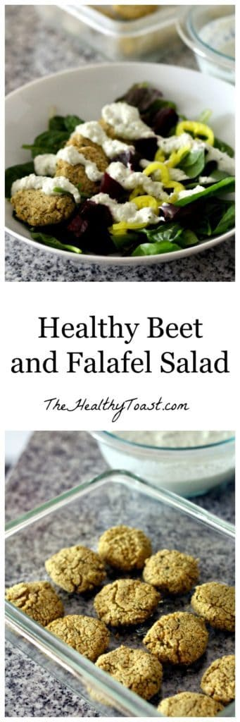 Healthy beet and falafel salad pinterest image