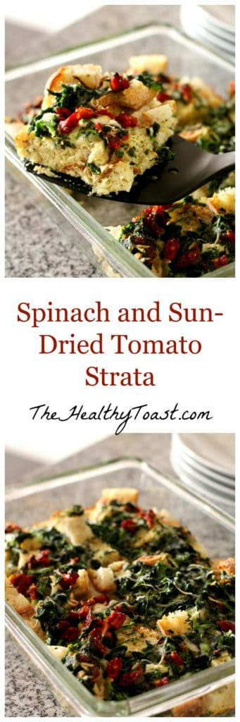 Spinach and Sun-dried tomato strata pinterest image