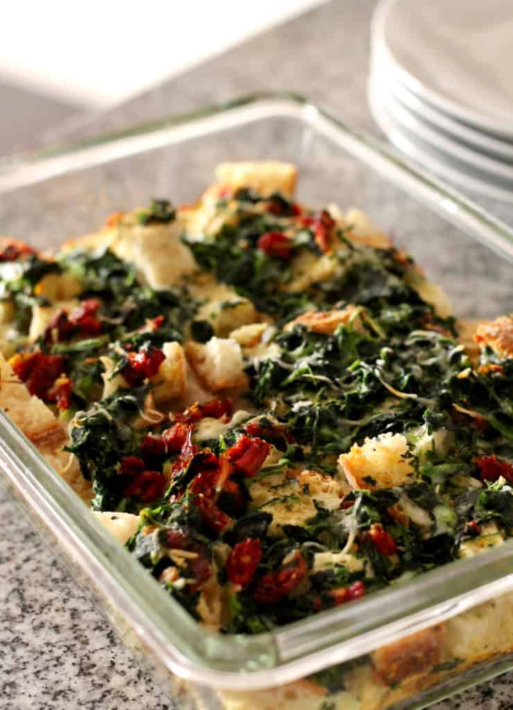 Pan of Spinach Sun Dried Tomato Strata
