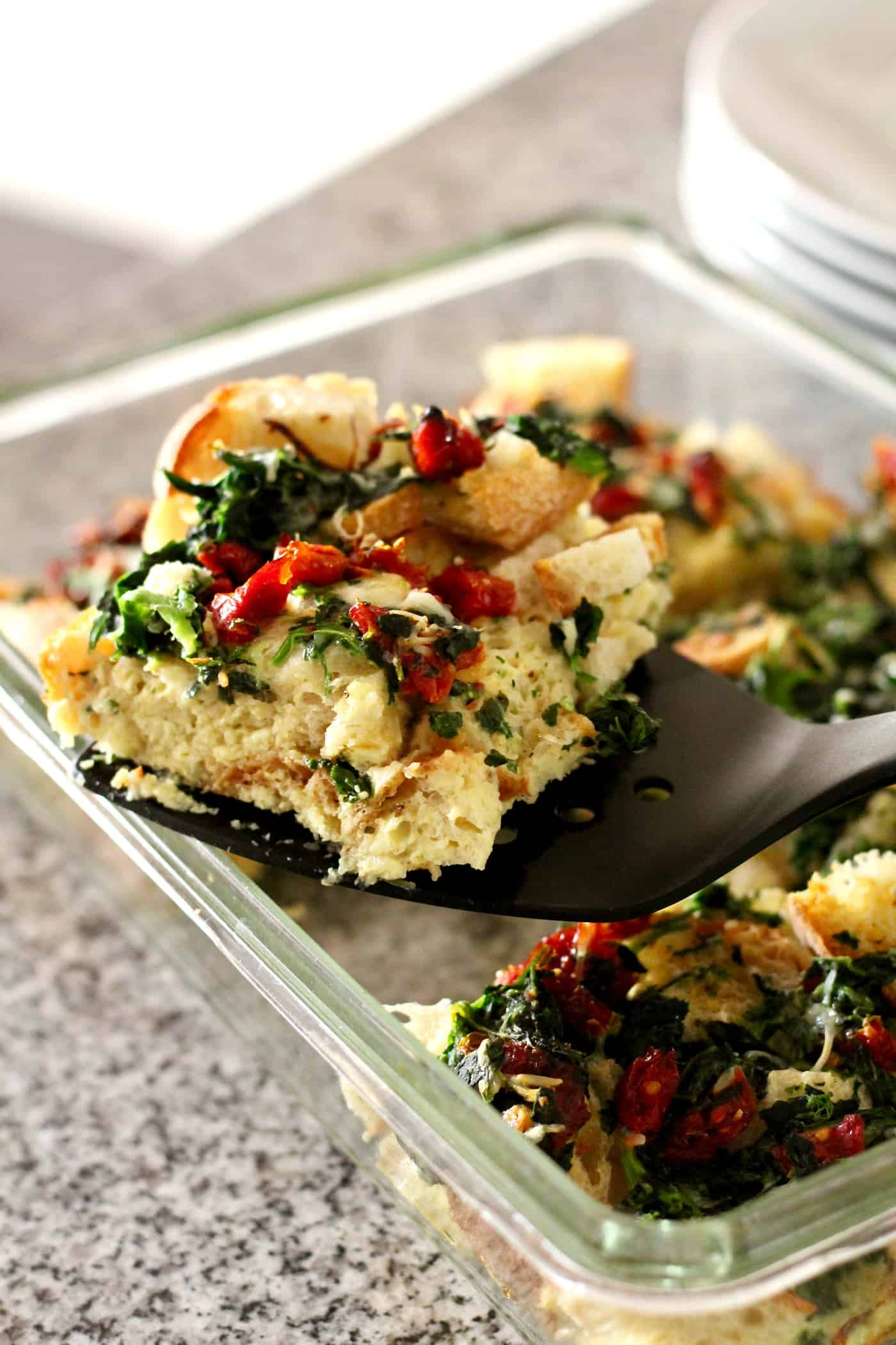 Healthy Spinach and Sun-dried Tomato Breakfast Strata
