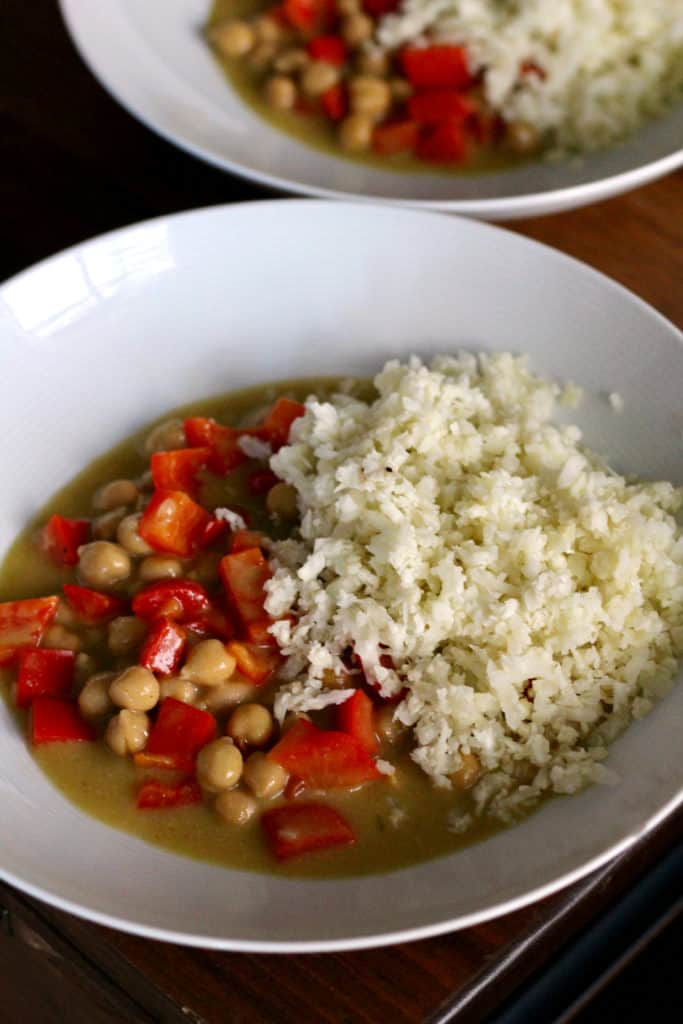 Chickpea green curry with cauliflower rice