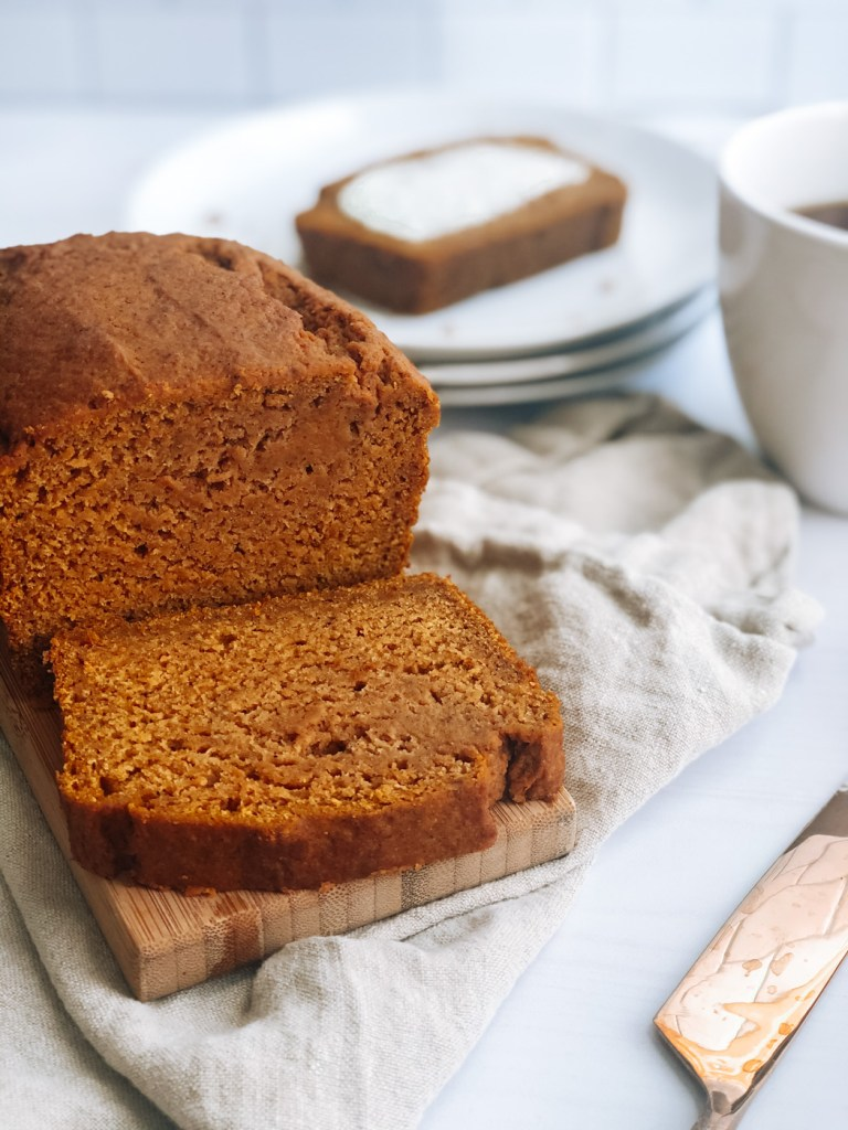close up of whole wheat pumpkin bread sliced