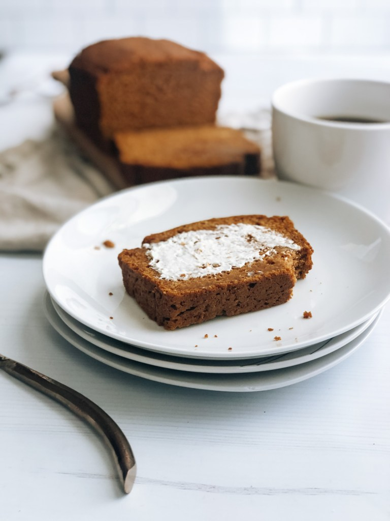 slice of healthy greek yogurt pumpkin bread with cream cheese