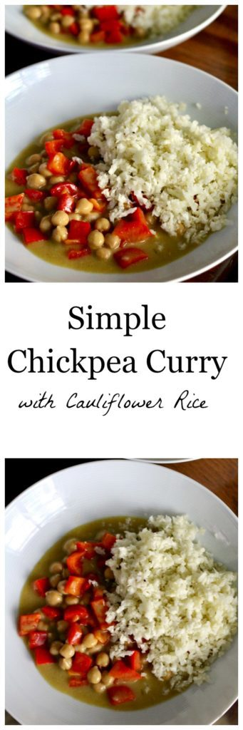 Simple chickpea curry with cauliflower rice pinterest image