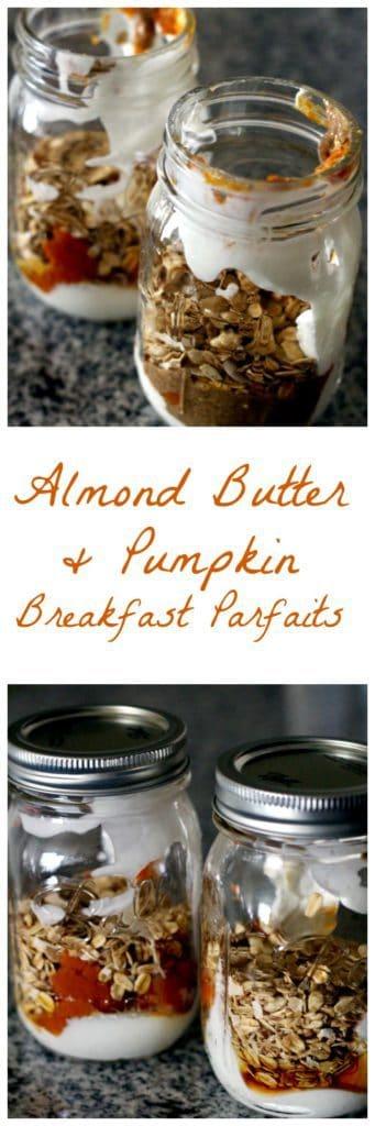 Almond butter and pumpkin breakfast parfaits pinterest image