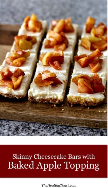 Skinny cheesecake bars with baked apple topping pinterest image