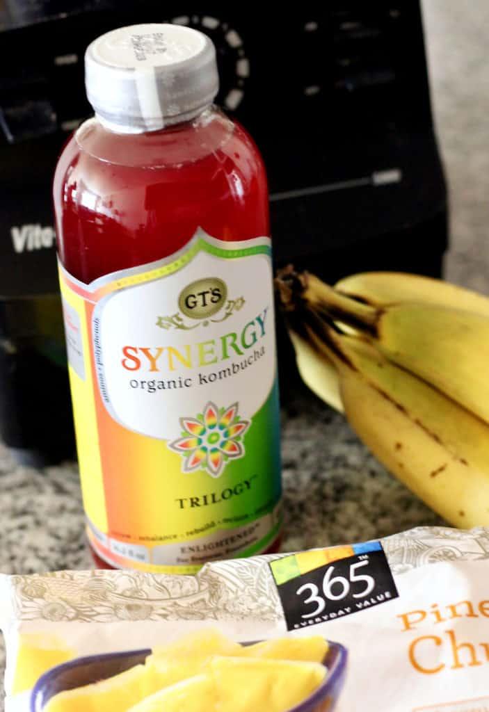 Synergy kombucha, frozen pineapple and bananas