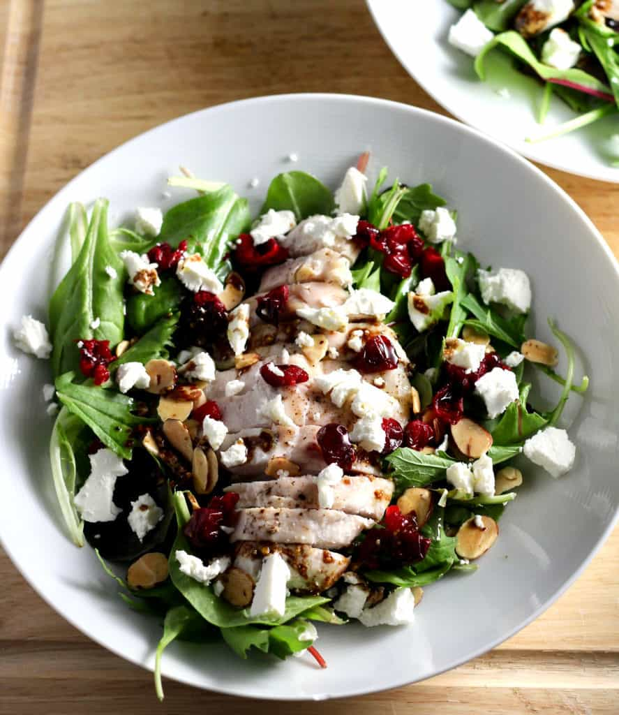 Roasted cranberry goat cheese salad with roasted chicken
