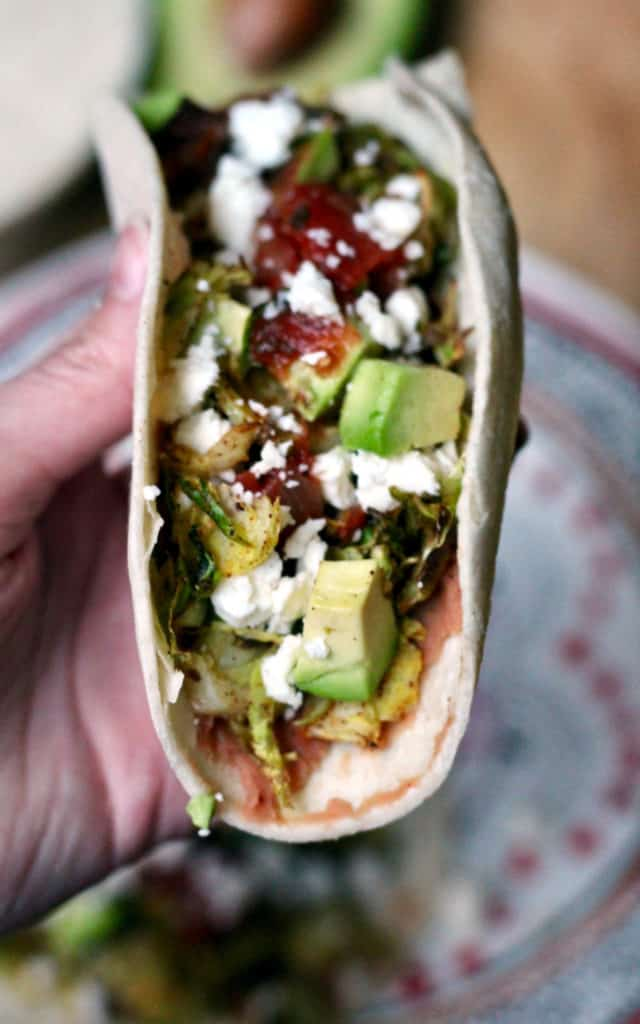 Chile roasted brussels sprouts taco